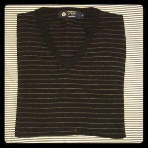 Men's Merino Wool Striped Black V-Neck Sweater S